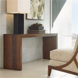 Tommy Bahama Island Fusion Turtle Island Wood Console Table in Brown