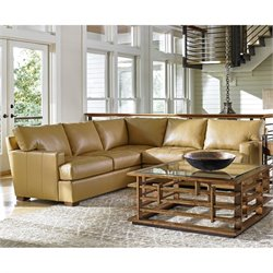 Tommy Bahama Island Fusion Osaka Leather Sectional in Supple Saddle
