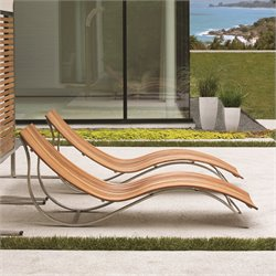 Tommy Bahama Tres Chic Patio Chaise Lounge in Natural Teak
