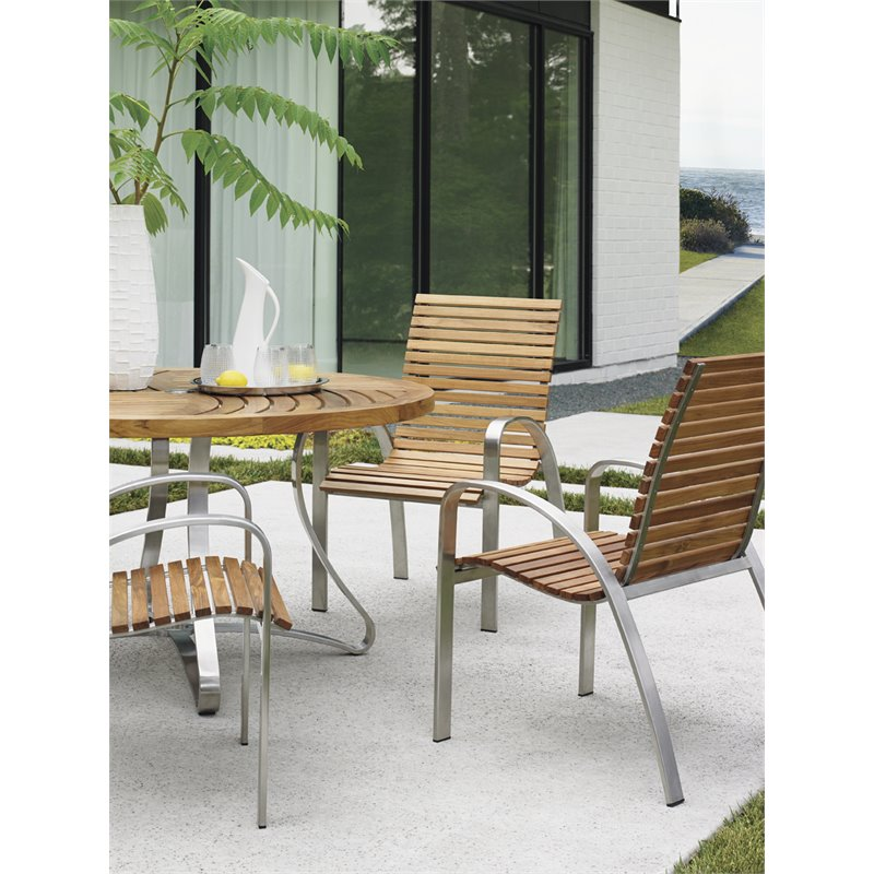 Tommy Bahama Tres Chic Patio Dining Chair in Natural Teak
