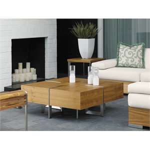 Tommy Bahama Tres Chic Square Patio Coffee Table in Natural Teak