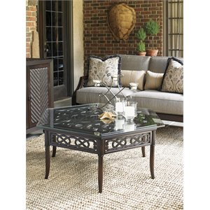Tommy Bahama Black Sands Hexagonal Patio Coffee Table in Deep Umber