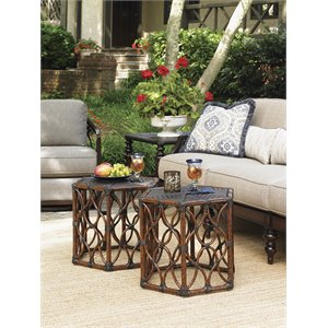 Tommy Bahama Black Sands Patio End Table in Deep Umber