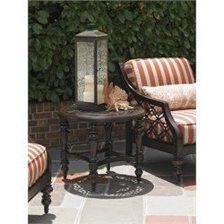 Tommy Bahama Black Sands Round Patio End Table in Deep Umber
