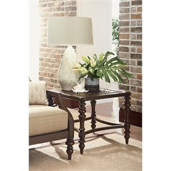 Tommy Bahama Black Sands Square Patio End Table in Deep Umber