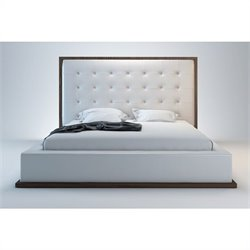 Modloft Ludlow Bed in Wenge and White Leather