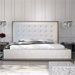 Modloft Ludlow Bed in Walnut and White Leather - Queen