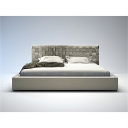 Modloft Madison Bed in Dusty Grey Leather - Queen
