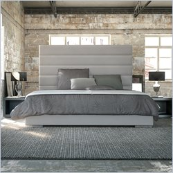 Modloft Prince Bed in Dusty Grey Leather - Queen