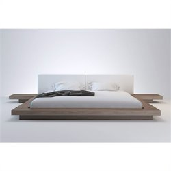 Modloft Worth Bed in Walnut and White Leather - Queen