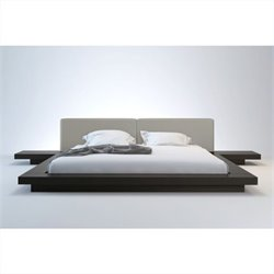 Modloft Worth Platform Bed in Wenge and Dusty Grey Leather - Queen
