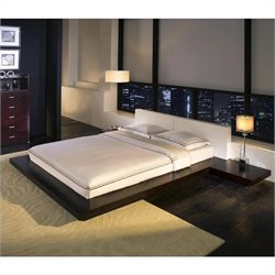 Modloft Worth Platform Bed in Wenge and White Leather - Queen