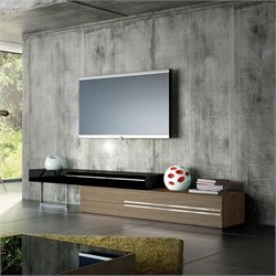 Modloft Gramercy TV Stand in Walnut and Black Lacquer