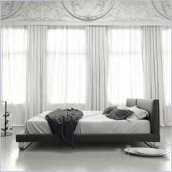 Modloft Chelsea Upholstered Bed in Slate Leather - Queen