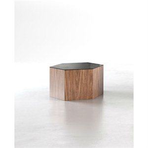 Modloft Centre Small Occasional Table in Black Glass on Walnut