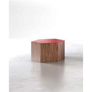 Modloft Centre Small Occasional Table in Chili Pepper Glass on Walnut