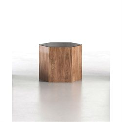 Modloft Centre Medium Occasional Table in Black Glass on Walnut