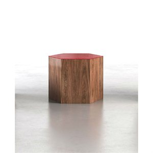 Modloft Centre Medium Occasional Table in Chili Pepper Glass on Walnut