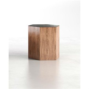 Modloft Centre Large Occasional Table in Black Glass on Walnut