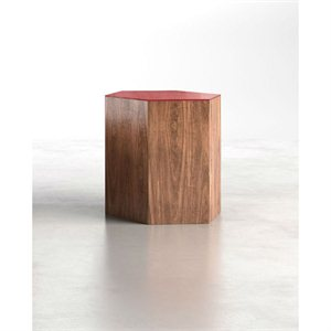 Modloft Centre Large Occasional Table in Chili Pepper Glass on Walnut