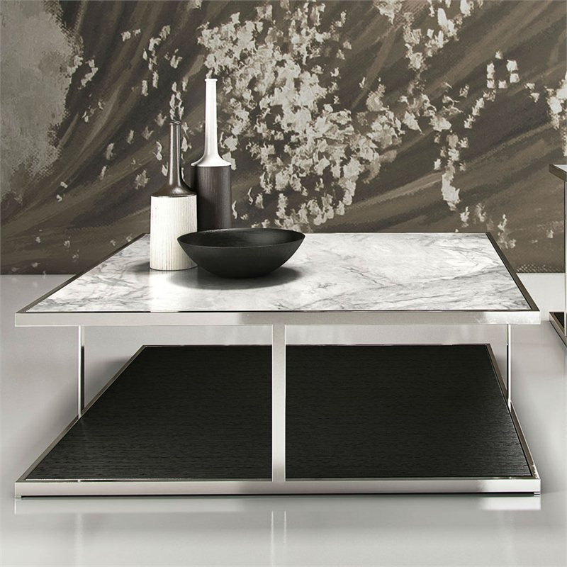 Wood Vs Marble Coffee Table Set: Modloft Ann Coffee Table With White Marble Top On Wenge