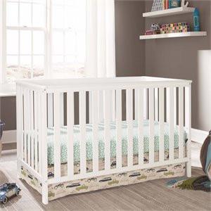 3-in-1 Convertible Crib in White