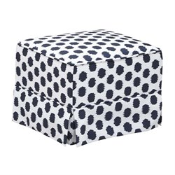 Upholstered Ottoman in White and Navy