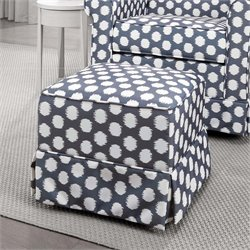 Upholstered Ottoman in Gray and White