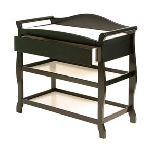 Sleigh Changing Table with Drawer in Black