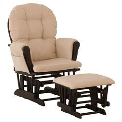 Stork Craft Hoop Glider and Ottoman in Black and Beige