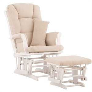 Glider and Ottoman in White with Beige Cushions