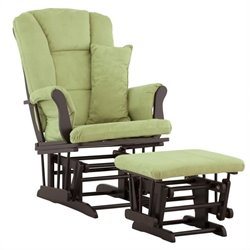 Stork Craft Tuscany Glider and Ottoman in Black with Sage Cushions