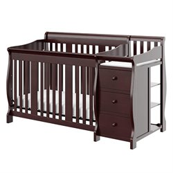 Stork Craft 4-in-1 Portofino Crib & Changer Combo in Espresso