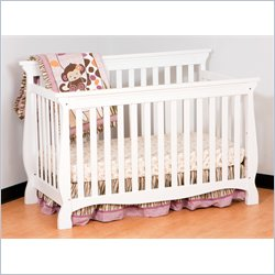 Stork Craft Carrara 4-in-1 Fixed Side Convertible Crib in White