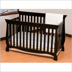 Stork Craft Carrara 4-in-1 Fixed Side Convertible Crib in Black