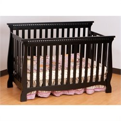Stork Craft Venetian 4-in-1 Fixed Side Convertible Crib in Black