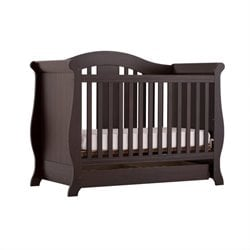 Stork Craft Vittoria 3-in-1 Fixed Side Convertible Crib in Espresso