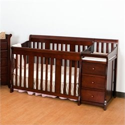 Stork Craft 4-in1 Portofino Crib & Changer Combo in Cherry