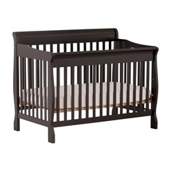 Stork Craft Modena 4 in 1 Fixed Side Convertible Crib in Black