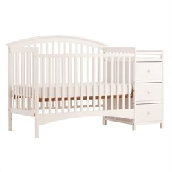 4-in-1 Fixed Side Convertible White Crib Changer