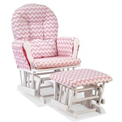Stork Craft Hoop Custom Glider and Ottoman in White and Pink