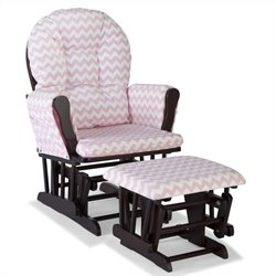 Stork Craft Hoop Custom Glider and Ottoman in Espresso and Pink