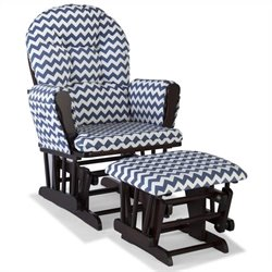 Stork Craft Hoop Custom Glider and Ottoman in Espresso and Navy