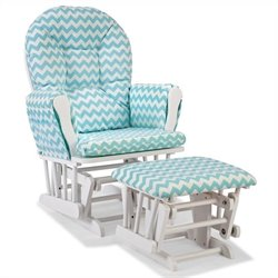 Stork Craft Hoop Custom Glider and Ottoman in White and Turquoise