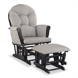 Stork Craft Hoop Custom Glider and Ottoman in Black and Taupe