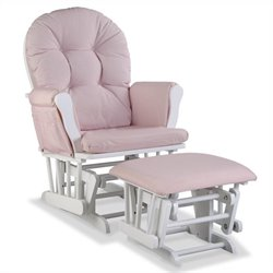 Stork Craft Hoop Custom Glider and Ottoman in White/Pink Blush Twirl