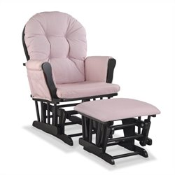 Stork Craft Hoop Custom Glider and Ottoman in Black and Pink Blush