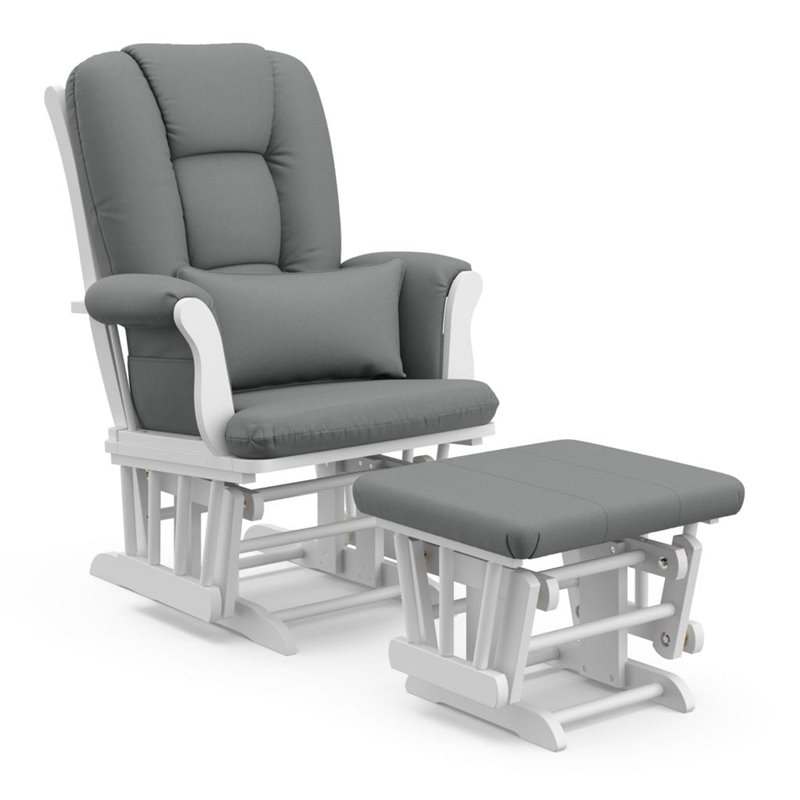 Stork Craft Custom Tuscany Glider and Ottoman in White and Grey ...
