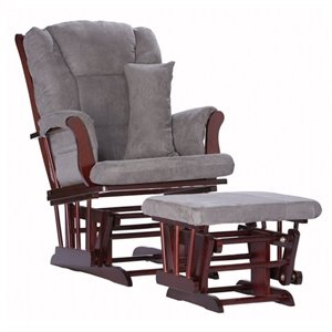 Stork Craft Custom Tuscany Glider and Ottoman in Cherry and Grey