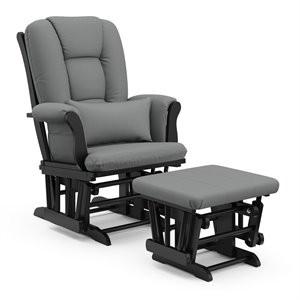 Stork Craft Custom Tuscany Glider and Ottoman in Black and Grey